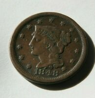 1848 BRAIDED HAIR LARGE CENT COPPER  GENUINE 1 C PENNY US COIN ESTATE FRESH