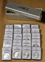 1986 TO 2005 AMERICAN EAGLE SILVER DOLLAR SET NGC BROWN LABEL ALL CERTIFIED MINT STATE 69