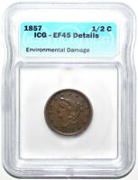 1857 BRAIDED HAIR HALF CENT ICG EF45 EXTRA FINE 45 DETAILS KEY DATE