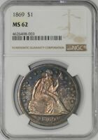1869 SEATED LIBERTY DOLLAR $ 938657-2 MINT STATE 62 NGC