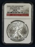 2011 NGC MS 70 EARLY RELEASES 25TH ANNIVERSARY SILVER EAGLE RED LABEL
