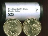 HEAD/TAIL 2012 P MINT CHESTER ARTHUR PRESIDENTIAL $25 DOLLAR ROLLFREE SHIP