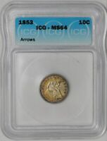 1853 SEATED LIBERTY DIME 10C ARROWS 939334-3 MINT STATE 64 ICG