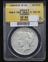 1934-D PEACE DOLLAR ANACS VF-30 VAM-4 DOUBLED OBVERSE SMALL D MINT MARK