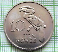ZAMBIA 1968 10 NGWEE CROWNED HORNBILL BIRD UNC