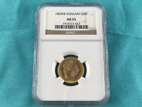 1883 KB HUNGARY GOLD 20 FRANC / 8 FORINT COIN NGC AU 55
