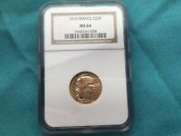 1910 FRANCE GOLD 20 FRANC ROOSTER COIN MS 64 NGC