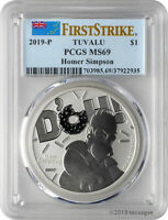 2019 P $1 TUVALU HOMER SIMPSON 1OZ 9999 SILVER COIN PCGS MS6