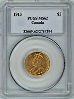 CANADA GOLD $5 1913 PCGS MS62
