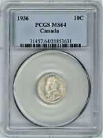 CANADA 1936 SILVER 10 CENTS PCGS MS64
