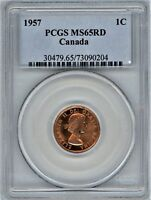 CANADA 1957 CENT PCGS MS65RD