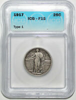 1917 TYPE 1 US STANDING LIBERTY QUARTER  ICG F15