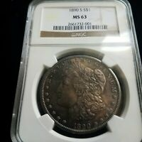 1890-S MORGAN SILVER DOLLAR NGC MINT STATE 63 LY TONED  LOT153