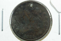 1833 HALF CENT HOLE DAMAGE