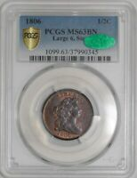 1806 HALF CENT 1/2C LARGE 6, STEMS 941228-22 MINT STATE 63 BN SECURE PLUS PCGS  CAC