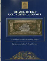 23KT GOLD & SILVER UNC $100 ANTIGUA BANKNOTE - BART ROBERTS'S ROYAL FORTUNE