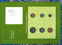 COIN SETS OF ALL NATIONS NETHERLANDS W/CARD 1991-1994 UNC 1, 2.5 GULDEN 1991