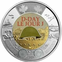 2019 CANADA DDAY 75TH ANNIVERSARY 1944 2019 $2 COLOURED TOONIE FROM ROLL