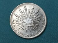 1891 MEXICO 8 REALES CAP AND RAYS SILVER COIN NICE HIGH GRAD