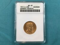 1911 A GERMANY/PRUSSIA 20 MARK GOLD COIN MS63