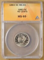 1883 LIBERTY V NICKEL 'NO CENTS' ANACS MINT STATE 65