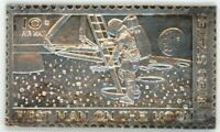 APOLLO XI MOON MISSION MEDAL   10C STAMP   SILVER