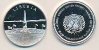 LIBERIA: 12.9G 925 SILVER PROOF MEDAL  32MM  UN COUNTRIES