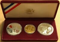 U.S. MINT 1984 OLYMPIC 3 COIN PROOF SET  2  $1 SILVER  1  $1