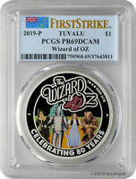 2019 P $1 TUVALU THE WIZARD OF OZ 1OZ 9999 SILVER PROOF COIN