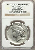 1921 HIGH RELIEF  NGC WEST 57TH ST COLLECTION  SILVER PEACE DOLLAR $1 EST AU