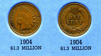 1904 INDIAN HEAD US CENT ONE PENNY 1 CENT KEY DATE  COIN INDIANCENT AMERICAN