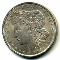 1921 P AU MORGAN SILVER DOLLAR US$1 ABOUT UNCIRCULATED LOW MINTAGE U.S COIN1369