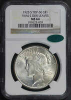 1925-S TOP 50 VAM-2 DDR LEAVES SILVER PEACE DOLLAR NGC MINT STATE 64 CAC -154949