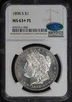 1898-S MORGAN DOLLAR NGC MINT STATE 63PL CAC - OBV LOOKS ALMOST DMPL -174106