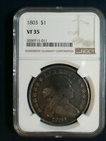 1803 DRAPED BUST DOLLAR NGC VF35 SMALL 3 SILVER $1 COIN PRICED TO SELL NOW