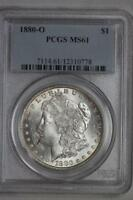 1880 O MORGAN SILVER DOLLAR MINT STATE 61 PCGS RAINBOW TONED REVERSE $1 US MINT COIN