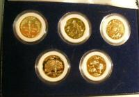 SET OF 5 GOLD PLATED STATE QUARTERS FROM THE MORGAN MINT IN
