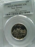 1999 S NEW JERSEY SILVER STATE QUARTER 25C  PCGS PF69DCAM