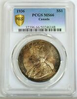 1936 CANADIAN CANADA $1 PCGS GRADED MS66   TRENDS $2500