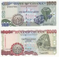 GHANA 1000 AND 2000 CEDIS 1995  2 UNC NOTES
