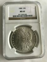 1880 P MORGAN SILVER DOLLAR $1 NGC GRADED MINT STATE 63