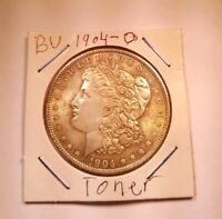 1904 O MORGAN SILVER DOLLAR COIN CHOICE BU UNCIRCULATED  DARK AMBER TONING
