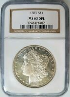 1883 SILVER MORGAN DOLLAR NGC MINT STATE 63 DPL DEEP MIRRORS PL DMPL GRADED COIN