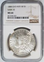 1884 O/O SILVER MORGAN DOLLAR NGC MINT STATE 64 VAM 10 DDO EAR MINT ERROR HOT 50 COIN