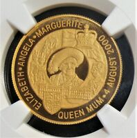 ZAMBIA: 2000 GOLD 10 000 KWACHA QUEEN MOTHER'S BIRTHDAY COINS NGC PF69 UC.