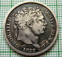 GREAT BRITAIN GEORGE III 1817 ONE SHILLING SILVER PATINA