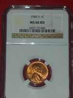 1949 S LINCOLN CENT NGC MINT STATE 66 RD