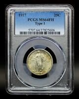 1917 TYPE 1 PCGS MINT STATE 64FH STANDING LIBERTY QUARTER [089DUD]