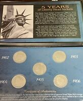 5 YEARS OF LIBERTY HEAD NICKELS 1902 1903 1904 1905 1906
