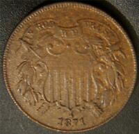1871 TWO CENT PIECE   NICE FULL MOTTO SHOW